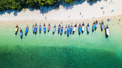 Aerial view of long tail boats on Railay beach in Krabi province of Thailand