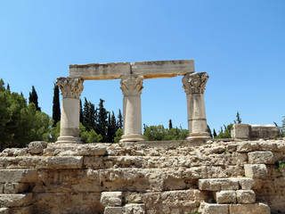 Europe, Greece, Corinth,remains of Corinthian columns  standing on ancient ruins