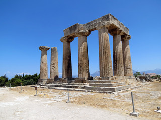 Europe, Greece, Corinth,the ruins of an antique pagan  temple on the site of the ancient city