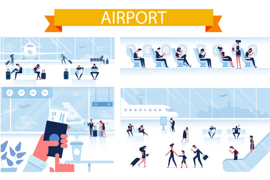 Airport horizontal background.  People sitting and walking in airport terminal. Flat vector illustration.