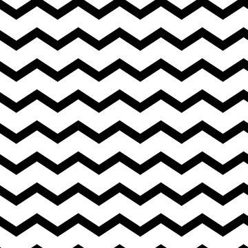 Modern geometric seamless pattern zig zag. Black waves isolated on white background. Classic striped retro background. Vector illustration