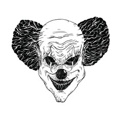 Evil clown face isolated at white background.Linocut engraving retro hand drawn style.