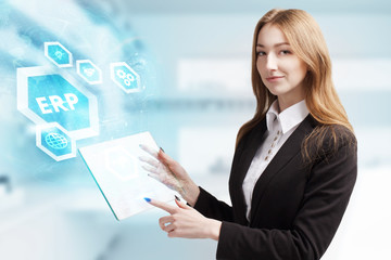 The concept of business, technology, the Internet and the network. A young entrepreneur working on a virtual screen of the future and sees the inscription: ERP