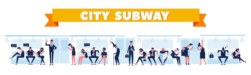 Subway flat illustration. City subway station platform and underground train.