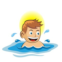 the little boy is swimming in the pool.vector illustration.
