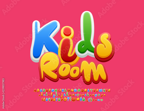 Vector colourful Emblem Kids Room  Bright Playful Font