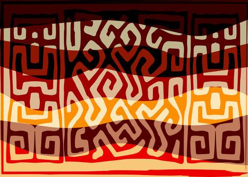 African Print fabric, Ethnic handmade ornament for your design, tribal pattern motifs geometric elements. Vector texture, afro textile Ankara fashion style. Pareo wrap dress, carpet batik from Mali