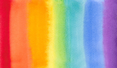rainbow watercolor hand draw illustration , for creative design tag, print, textile, paper, label, text, poster, banner. Colored like - red, orange, yellow, green, blue , azure, violet, purple,pink