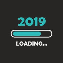 Happy new year 2019 with loading icon neon style. Progress bar almost reaching new year's eve. illustration with 2019 loading. Isolated or dark gray black background