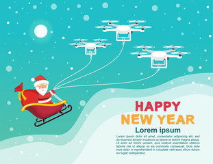 New Year banner with santa claus and drones. Drones are carrying Santa Claus in a sleigh with a bag of gifts. Flat illustration for Christmas banner design.