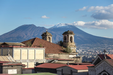 Old italian church with mount Vesuvius at backgound in Naples, Italy