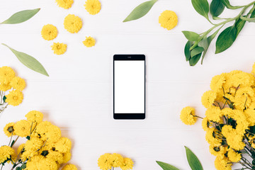 Festive floral flat lay composition mobile phone