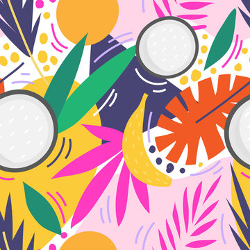 Tropical seamless pattern with coconut, banana and palms for print, textile, wallpaper. Modern hand drawn exotic fashion background.