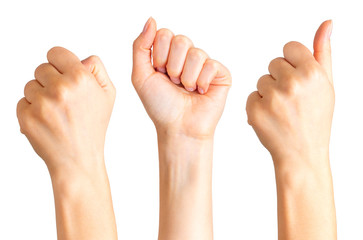 Set of woman clenched fist. Concept of unity, fight or cooperation