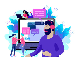 Concept Landing page template customer service, male hotline operator advises client, online global technical support, customer and operator