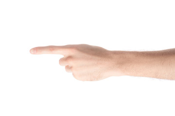cropped view of man pointing left with finger isolated on white