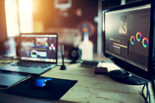 Monitor editing video content or creativity video for freelance vlog with laptop