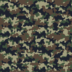 Camouflage Seamless Pattern - Abstract design of camouflage in green and brown colors