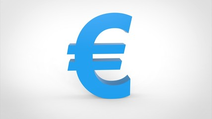 Blue Euro Icon 3d Rendering White