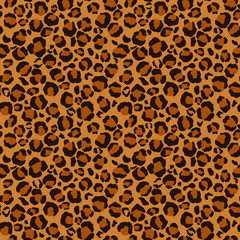 Leopard Print Seamless Pattern - Leopard print design in brown, orange, and gold colors