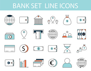 Lined set of bank icons. Vector Illustration.