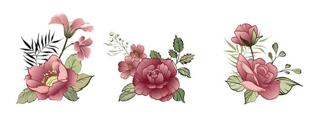Flower Design elements. Spring decorative bouquet