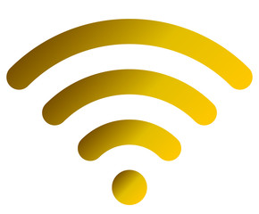 Wifi symbol icon - golden simple rounded gradient, isolated - vector