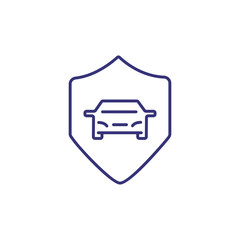 Car secure line icon. Car inside protection shield on white background. Security concept. Vector illustration can be used for topics like insurance, car