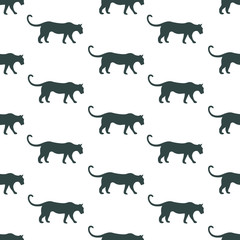 Vector seamless pattern with black silhouettes of tigers on white background. Endless repeat texture with predator for wrapping. Wildcat monochrome