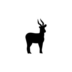 Vector black silhouette of stand antelope isolated on white background. Hand-drawn standing animal logo view side