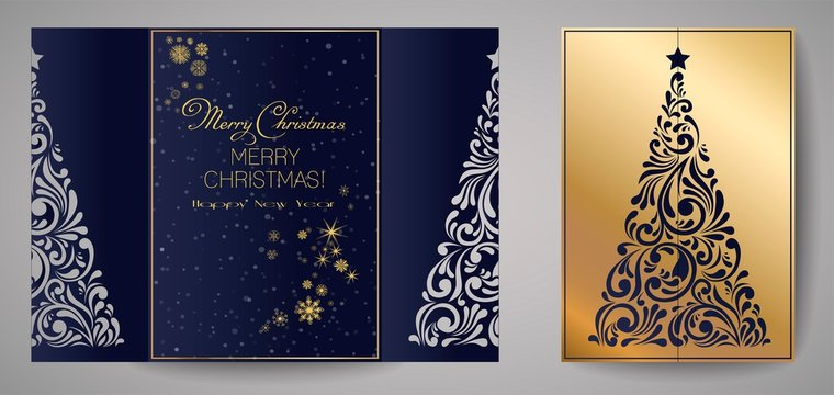 Laser cut template for Christmas cards, square invitation for party with Christmas tree cutout of paper. Merry Christmas calligraphy. Image suitable for laser cutting, plotter cutting or printing.