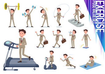 flat type Beige suit beard man_exercise