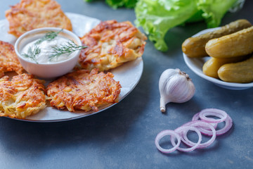 Draniki - potato fritters. potato pancakes lie on a plate. The national dish of Belarus, Ukraine, Russia.