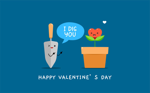 A garden shovel with heart shaped plant on vase. Valentine's vector illustration