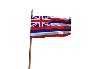 Hawaii flag USA flag Isolated Silk waving flag made transparent fabric of Hawaii US state with wooden flagpole gold spear on white background isolate real foto 3d illustration