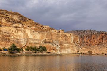 Landscape of Halfeti in the foreground Euphrates River and Sunken Mosque. Sanliurfa, Gaziantep in Turkey