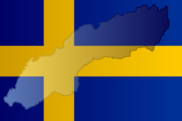 Graphic illustration of a Swedish flag with a contour of its borders