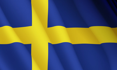 Graphic illustration of a flying Swedish flag