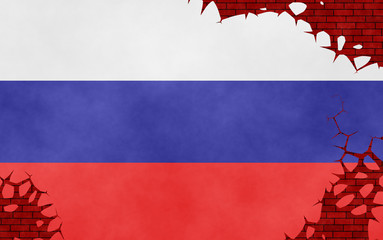 Graphic illustration of a Russian flag imitating a paiting on the cracked wall