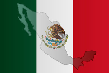 Graphic illustration of a Mexican flag with a contour of its borders