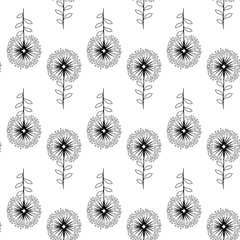 Vector flower black-white pattern. Seamless botanic texture, detailed flowers illustrations. Floral pattern in doodle style, spring floral background.