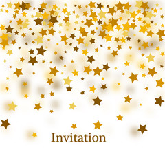 Abstract white modern seamless pattern with gold stars. Vector illustration.Shiny background.