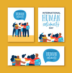 Human Solidarity Day diverse friend group hug set