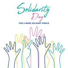 Wall Mural - Human Solidarity Day colorful hands illustration