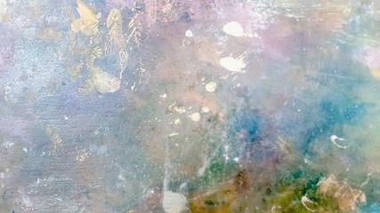 Abstract, blur, bokeh background, defocusing - image for the background. Background image of bright oil-paint palette closeup