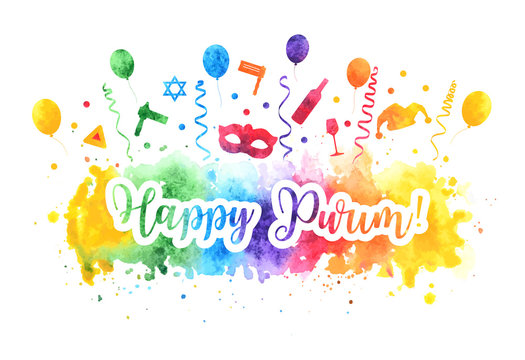 Happy Purim Jewish Holiday greeting card. Purim carnival set of watercolor design elements, icons isolated on white background. Vector illustration.