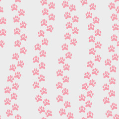 Vector seamless pattern with pink animal's footprint isolated on an empty grey background. Endless texture for scrapbooking, cards, wallpaper, typography,fashion, paper, textile, web design and others