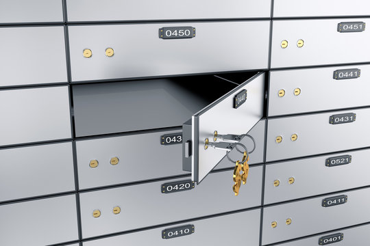 Safe deposit boxes with open one safe cell. 3D rendering. Safe lockers