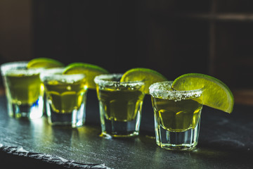 Mexican Gold Tequila shot  with lime and salt