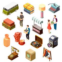 Flea Market Isometric Icons Set